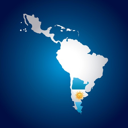 latin america: latin america map with the argentina flag  over blue background. vector illustration Illustration