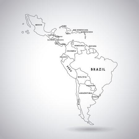 白い背景の上の国アイコンの名前でラテン アメリカ マップ。ベクトル図