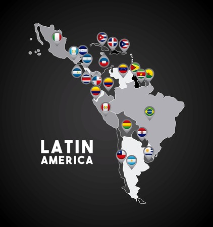 latin america: Map of Latin America with the flags of countries on location pins. colorful design. vector illustration Illustration