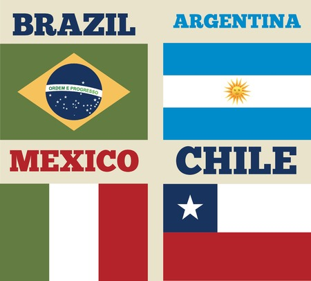 latin america: countries flags of latin america. colorful design. vector illustration