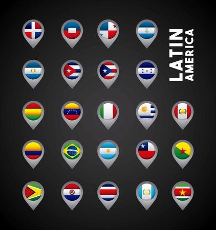 banderas america: banderas de los países de América Latina en los banderines. diseño colorido. ilustración vectorial