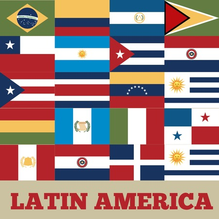 latin: flags of latin america countries. colorful design. vector illustration