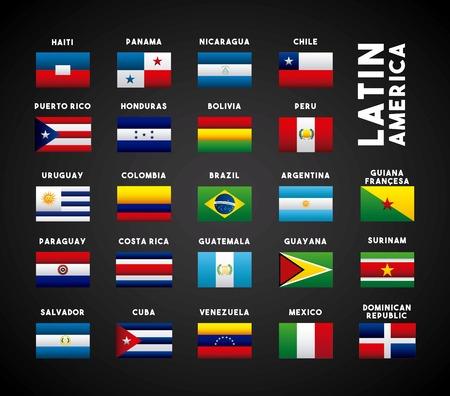 Flaggen der Länder Lateinamerikas. bunte Design. Vektor-Illustration