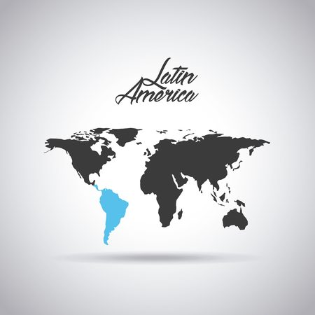 latin america: world map with latin america map in blue color icon over white background. vector illustration Stock Photo