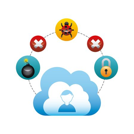 cloud with cyber security icons around over white background. colorful design. vector illustration Illustration