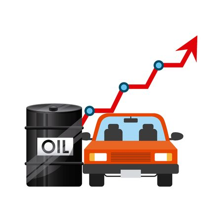 oil barrel and car vehicle icon over white background. colorful design. vector illustration Stock Photo