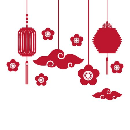 chinese script: silhouette of flowers and chinese lanterns decorations hanging over white background. colorful design. vector illustration Illustration