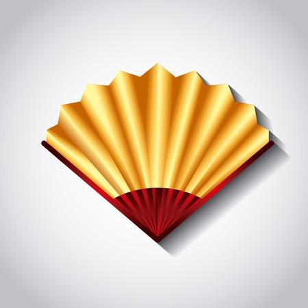 chinese fan accessory icon over white background. colorful design. vector illustraiton Illustration