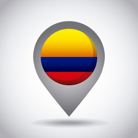 colombia country flag pin icon over white background. colorful design. vector illustration Illustration