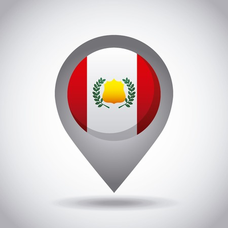 white pushpin: peru country flag pin icon over white background. colorful design. vector illustration