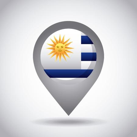 bandera de uruguay: uruguay country flag pin icon over white background. colorful design. vector illustration Foto de archivo