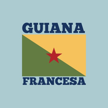 guiana: guiana francesa country flag icon over blue background. colorful design. vector illustration