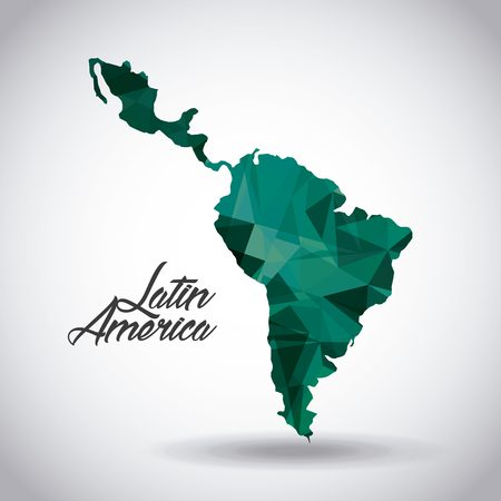 latin america map icon over white background. colorful design. vector illustration Иллюстрация