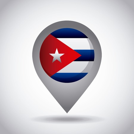 cuba country flag pin icon over white background. colorful design. vector illustration Illustration
