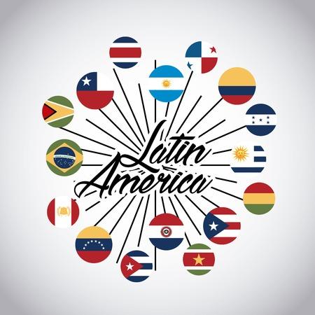 bandiere dei paesi dell'America latina sui pulsanti. design colorato. illustrazione vettoriale Vettoriali