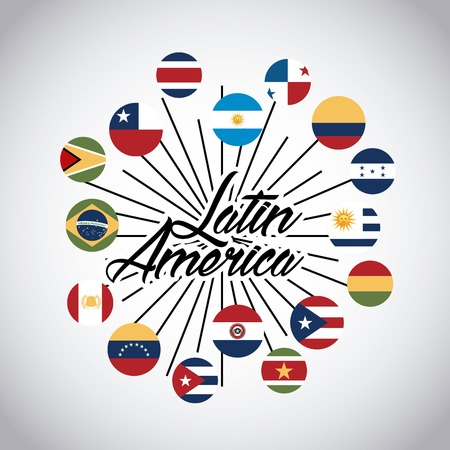 Flaggen der Länder Lateinamerikas auf Tasten. bunte Design. Vektor-Illustration Vektorgrafik