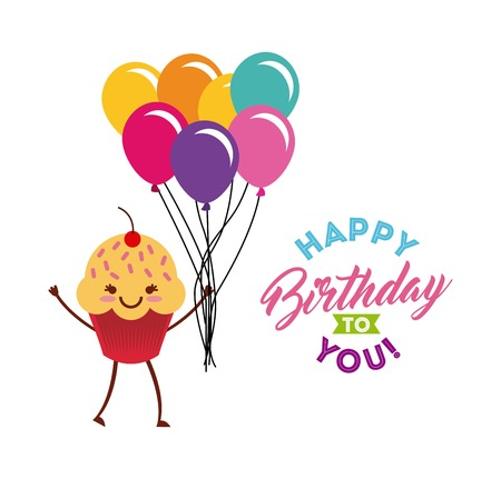 Happy Birthday Card With Cartoon Cupcake Icon And Balloons