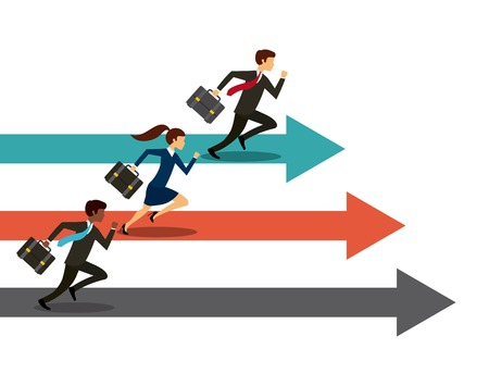 competitions: businessmen and women running on competition race. colorful design. vector illustration Illustration