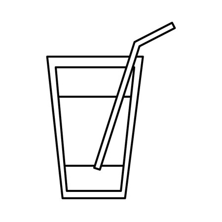 water glass with straw drawing vector illustration design Stock Vector - 67888423