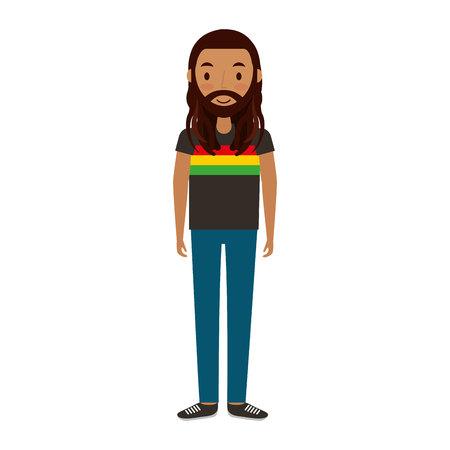 dreadlocks: reggae man character icon vector illustration design Illustration