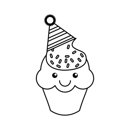 carbohydrate: cupcake character kawaii with party hat vector illustration design
