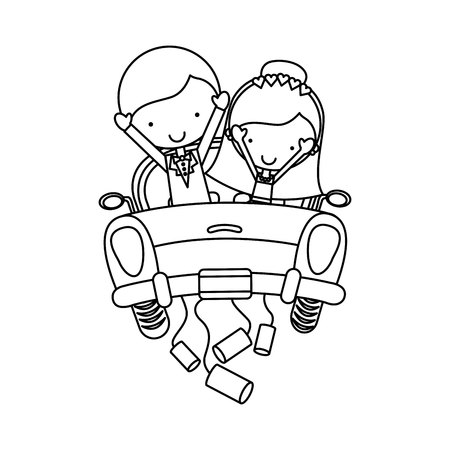 Couple of newlyweds character vector illustration design Illustration