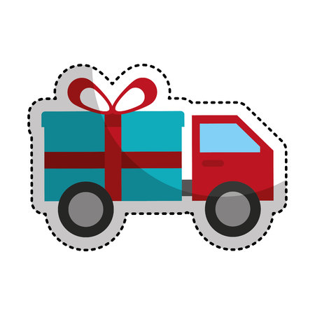 truck with gift isolated icon vector illustration design