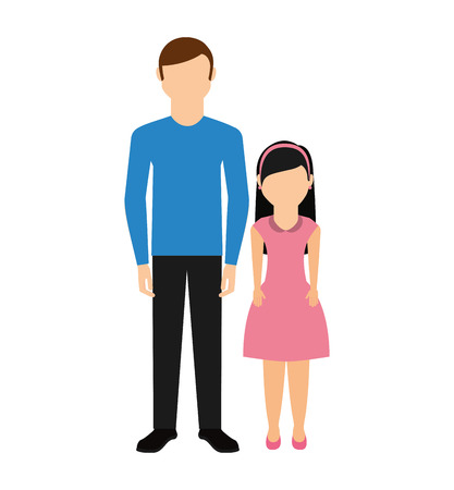 father with daughter isolated icon vector illustration design Illustration