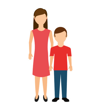 mother with son isolated icon vector illustration design