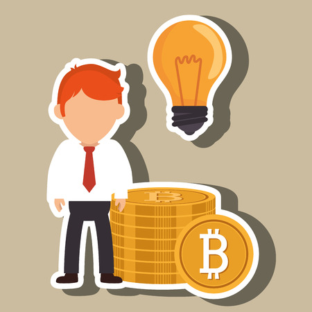man bit coin idea vector illustration