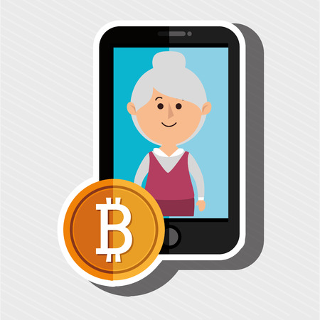 new account: woman smartphone bit coin vector illustration