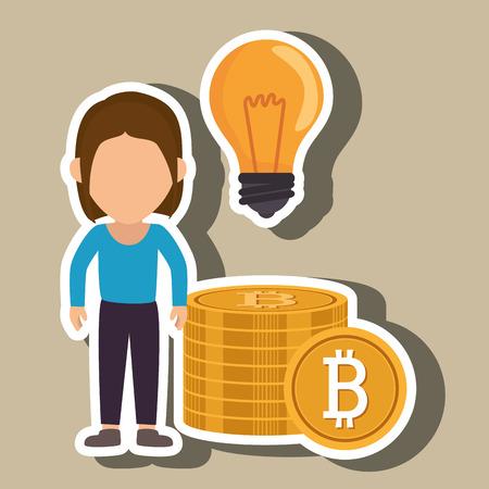 woman bit coin idea vector illustration