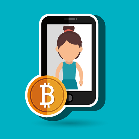 woman smartphone: woman smartphone bit coin vector illustration