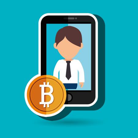 man smartphone bit coin vector illustration Illustration