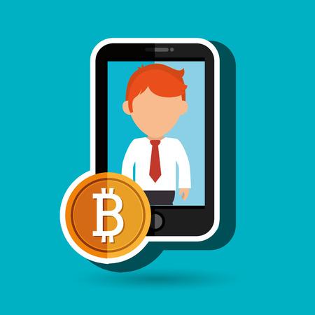 new account: man smartphone bit coin vector illustration Illustration