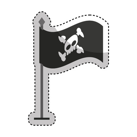Hacker skull alert isolated icon vector illustration design