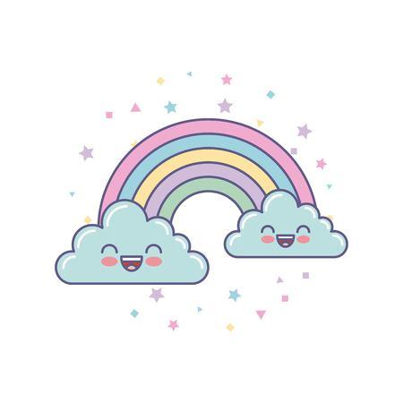 かわいい雲と虹ベクトル イラスト デザインを描く