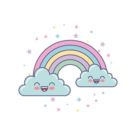 cute clouds and rainbow drawing vector illustration design Illusztráció