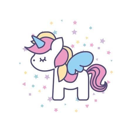 tekening schattige unicorn icon vectorillustratieontwerp Stock Illustratie