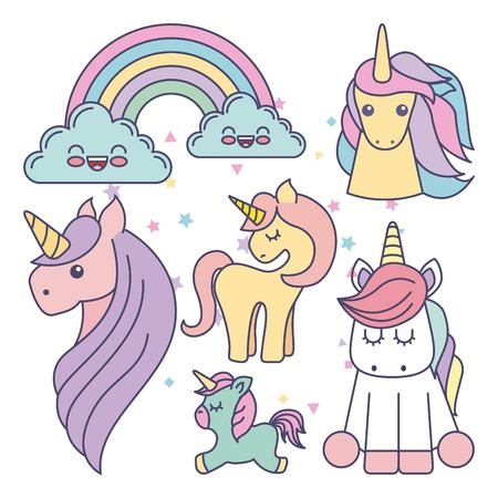 drawing cute set unicorns icon vector illustration design Иллюстрация