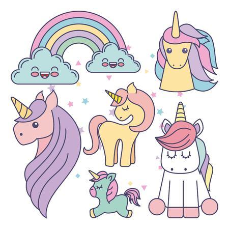 Unicornios dibujo icono de ilustración vectorial de diseño lindo conjunto Foto de archivo - 67990873