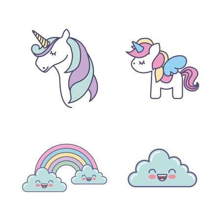 drawing cute set unicorns icon vector illustration design Illustration