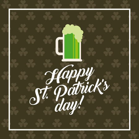 beer jar: Tarjeta del día de San Patricio con el icono de jarra de cerveza. diseño colorido. ilustración vectorial