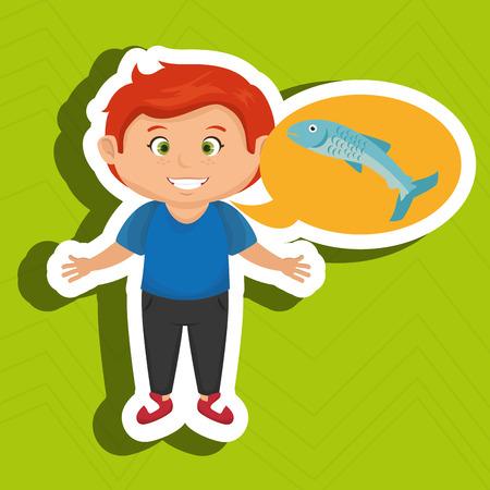boy cartoon food fish fresh vector illustration eps 10 Illustration