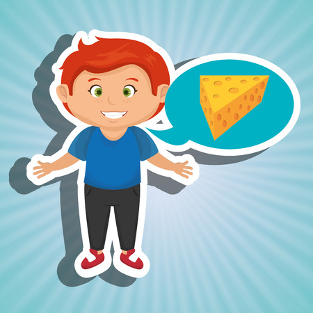 cheddar: boy cartoon cheese sliced food vector illustration eps 10