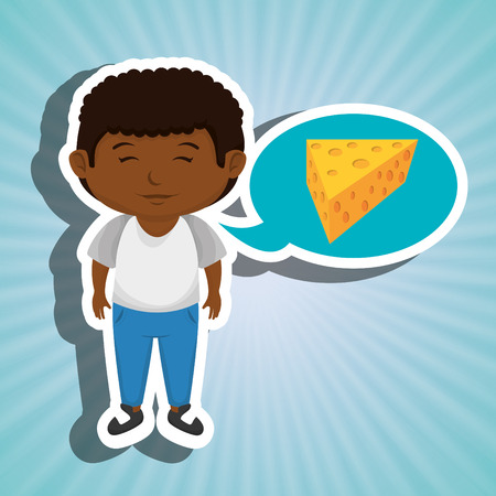 boy cartoon cheese sliced food vector illustration eps 10