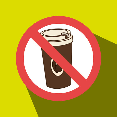 unhealthful: coffee fast food unhealth prohibited vector illustration eps 10 Illustration