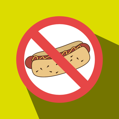 unhealthful: hot dog fast food unhealth prohibited vector illustration eps 10