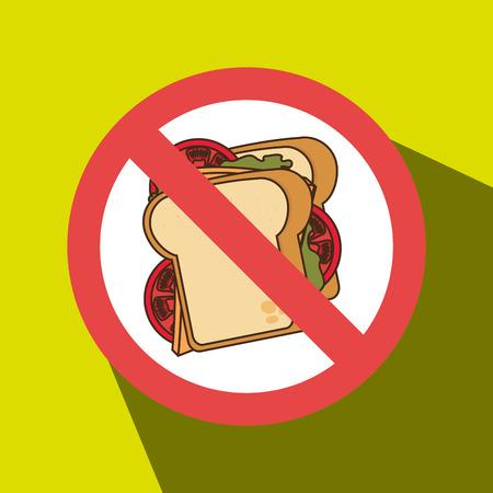 unhealth: sandwich fast food unhealth prohibited vector illustration eps 10 Illustration