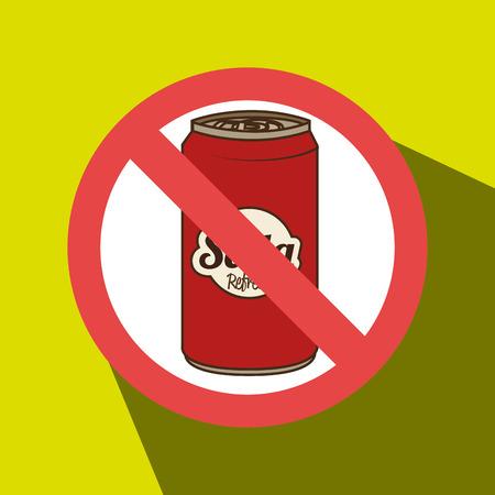 unhealth: soda fast food unhealth prohibited vector illustration eps 10